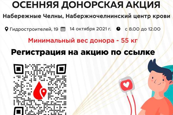 14 октября в Набережных Челнах состоится «Осенняя донорская акция»
