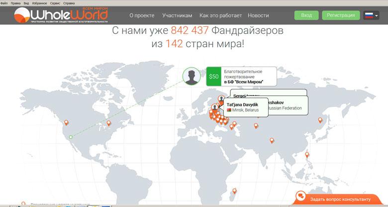 Скриншот сайта wholeworld.biz