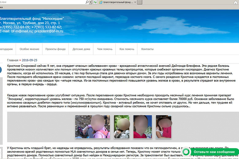 2. «Кристина Смирнова» на сайте БФ «Милосердие»